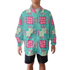 Pink flowers in squares pattern Wind Breaker (Kids)