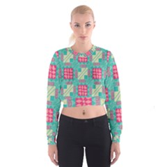 Pink Flowers In Squares Pattern   Women s Cropped Sweatshirt