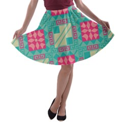 Pink Flowers In Squares Pattern A Line Skater Skirt