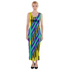Tribal angles Fitted Maxi Dress