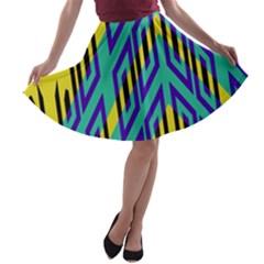 Tribal angles A-line Skater Skirt