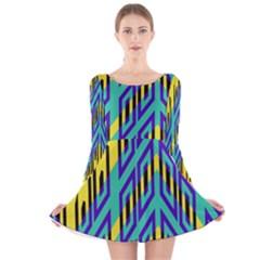 Tribal angles Long Sleeve Velvet Skater Dress