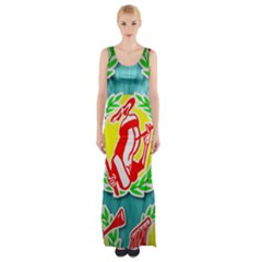 R&h Logo Tessalated Maxi Thigh Split Dress