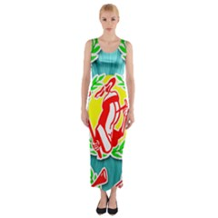 Logo Tessalated Edited 8 Fitted Maxi Dress