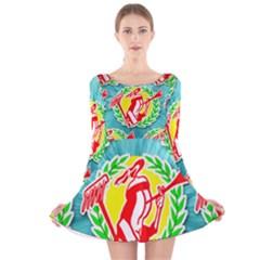 Logo Tessalated Edited 8 Long Sleeve Velvet Skater Dress