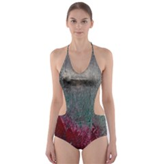 Metallic Abstract 1 Cut Out One Piece Swimsuit