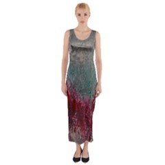 Metallic Abstract 1 Fitted Maxi Dress