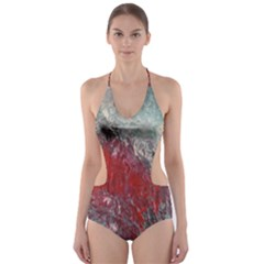 Metallic Abstract 2 Cut Out One Piece Swimsuit