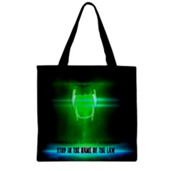 STOP IN THE NAME OF THE LAW Zipper Grocery Tote Bags