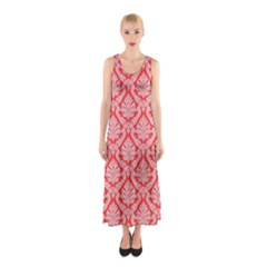 Salmon Damask Full Print Maxi Dress