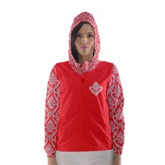 Salmon Damask Hooded Wind Breaker (Women)