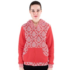 Salmon Damask Women s Zipper Hoodie