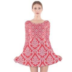 Salmon Damask Long Sleeve Velvet Skater Dress