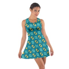 Blue yellow shapes pattern Cotton Racerback Dress
