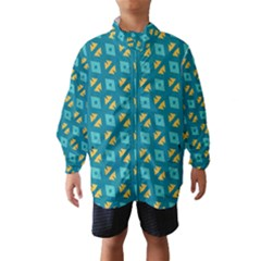 Blue yellow shapes pattern Wind Breaker (Kids)