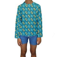 Blue yellow shapes pattern  Kid s Long Sleeve Swimwear