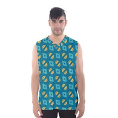 Blue yellow shapes pattern Men s Basketball Tank Top