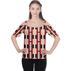 Rectangles And Stripes Pattern Women s Cutout Shoulder Tee