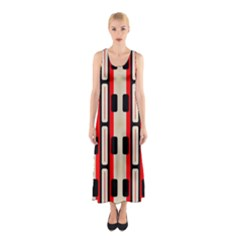 Rectangles and stripes pattern Full Print Maxi Dress