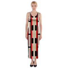 Rectangles and stripes pattern Fitted Maxi Dress