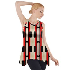 Rectangles And Stripes Pattern Side Drop Tank Tunic