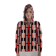 Rectangles and stripes pattern Hooded Wind Breaker (Women)