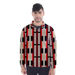 Rectangles And Stripes Pattern Wind Breaker (men)