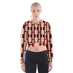 Rectangles and stripes pattern   Women s Cropped Sweatshirt