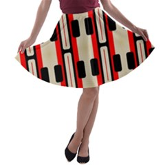 Rectangles and stripes pattern A-line Skater Skirt