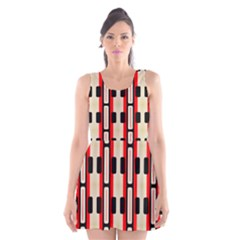 Rectangles and stripes pattern Scoop Neck Skater Dress