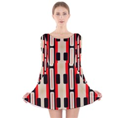 Rectangles and stripes pattern Long Sleeve Velvet Skater Dress