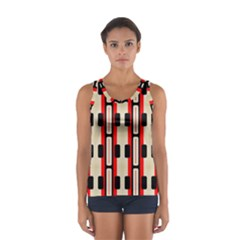 Rectangles And Stripes Pattern Women s Sport Tank Top