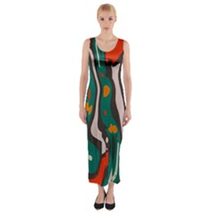 Retro Colors Chaos Fitted Maxi Dress
