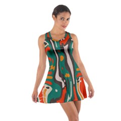 Retro colors chaos Cotton Racerback Dress