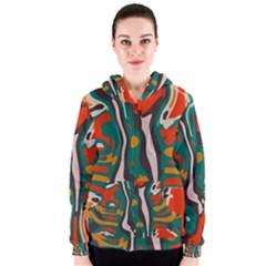 Retro Colors Chaos Women s Zipper Hoodie