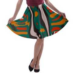 Retro Colors Chaos A Line Skater Skirt