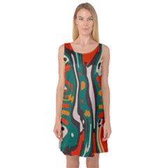 Retro Colors Chaos Sleeveless Satin Nightdress