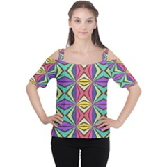 Connected Shapes In Retro Colors  Women s Cutout Shoulder Tee