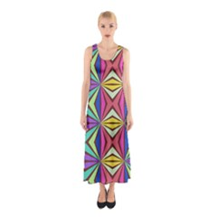Connected shapes in retro colors  Full Print Maxi Dress