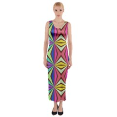 Connected Shapes In Retro Colors  Fitted Maxi Dress