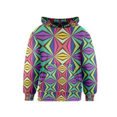 Connected Shapes In Retro Colors  Kid s Pullover Hoodie