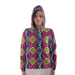 Connected shapes in retro colors  Hooded Wind Breaker (Women)