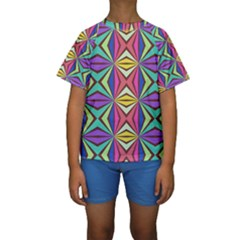 Connected shapes in retro colors   Kid s Short Sleeve Swimwear