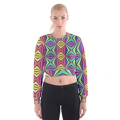 Connected Shapes In Retro Colors    Women s Cropped Sweatshirt