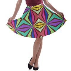 Connected shapes in retro colors  A-line Skater Skirt