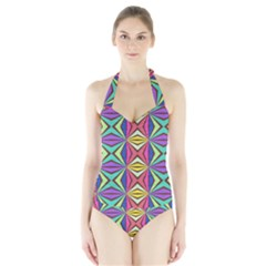 Connected Shapes In Retro Colors  Women s Halter One Piece Swimsuit