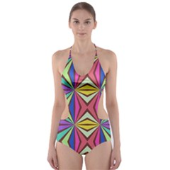 Connected shapes in retro colors  Cut-Out One Piece Swimsuit
