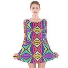 Connected shapes in retro colors  Long Sleeve Velvet Skater Dress