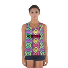 Connected Shapes In Retro Colors  Women s Sport Tank Top
