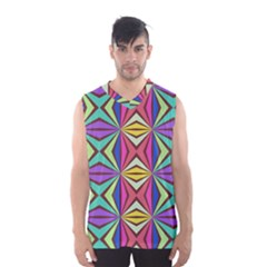 Connected Shapes In Retro Colors  Men s Basketball Tank Top